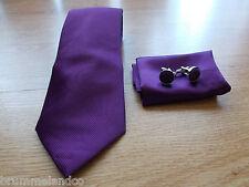 Cravate en soie violet à fines côtes NEUVE + boutons de manchette + pochette