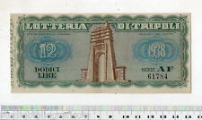 BIGLIETTO LOTTERIA DI TRIPOLI - DODICI LIRE - 1938