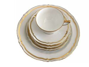 Marie Antoinette Gold on White by A. Raynaud et Limoges (8 place settings) 1967