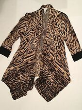 CHICOS 0 Sweater Size 0 Womens 4 Animal Print Sweater Open Front Long Leopard