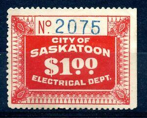 Weeda Saskatchewan SE5 Unused 1927 issue $1 scarlet Electrical Revenue CV $1250