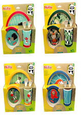 Nuby Bamboo & Maize Childrens Lunch Set - Plate/Bowl/Cup/Cutlery 4 Fun Designs