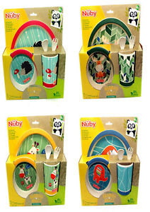Nuby Childrens Lunch Set - Plate/Bowl/Cup/Cutlery 4 Fun Designs