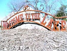 Extra Large Metal Welcome to the Lake Sign Wall Entry Gate 56 1/2 inch