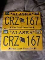 Two Alaskan license plates CRZ 167 The Last Frontier