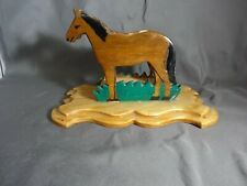 """New listing Horse Napkin Holder Western Wooden Rustic Lodge Decor Ranch Kitchen 7.5"""" Read"""