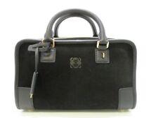 Auth LOEWE Amazona 23 352.61.H71 Black Suede &  Leather Handbag