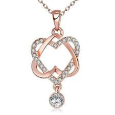 18K Rose Plated Intertwined Hearts Necklace made with Swarovski Crystals
