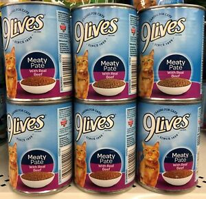 6 CANS 9Lives Meaty Paté With Real Beef Wet Cat Food 13 oz Can