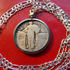 """1920's  Silver US Standing Liberty Quarter on a 30"""" 925 Sterling Silver Chain"""