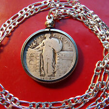 "1920's  Silver US Standing Liberty Quarter on a 30"" 925 Sterling Silver Chain"