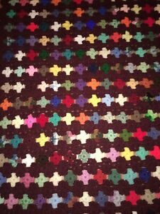 """31""""x36"""" Granny Afghan Brown With Bright Beautiful Crosses All Over Soft And Cozy"""