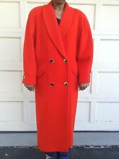 Vtg ILIE WACS Saks Fifth Avenue sz 6 Wool Long Winter Over Coat Red Orange