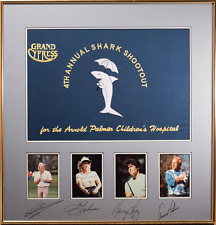 Golf Tournament Signed Flag & Photos, Arnold Palmer, Greg Norman, Lopez, Stevens
