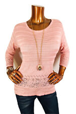 White House Black Market M Top Stretch Crochet Lite Sweater Pulover 3/4 Peach