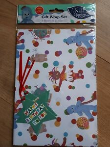 In The Night Garden Gift Wrap / Wrapping Paper x 2 Sheets With X 2 Tags - NEW