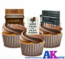 Piano Vertical Keep Calm And Play Piano Mix 12 Comestibles Stand Up Cup Cake Toppers