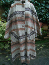 Vintage Aztec Navajo Hooded Blanket Coat Appx Size 10-12 Wool Blend