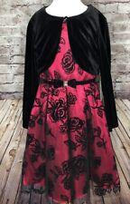 Jona Michelle Red Black Flocking Dress Holiday Christmas w/ cardigan Size 8