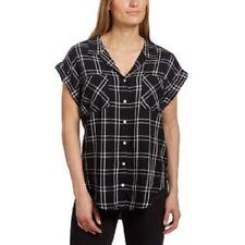 NEW Jachs Girlfriend Women's Cap Sleeve Button-Front Blouse Shirt Black Plaid S
