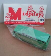 VINTAGE 1950's MIDGE TOY JUNIOR SIZE PASSENGER BUS-ORIGINAL PACKAGE-MADE IN USA