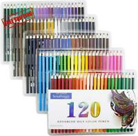 120 Oil Colored Pencils Artist Paint Art Drawing Sketching, Adult Coloring Books