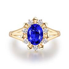 Natural Blue Tanzanite Solid 14K Yellow Gold Engagement Wedding Women Ring