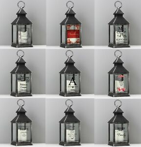 Personalised LED Black Lantern Choose Design Any Occasion