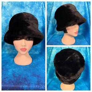 Ladies Black Faux Fur Hat M&S Lined 20's Style Winter Smart Cozy NWOT 🌹
