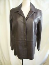 "Ladies Leather Coat Jacket M&S brown UK 18, bust 44"", length 30"", smart 1004"