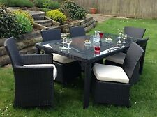 Rattan Dining Table 6 Chairs Rattan Wicker Aluminum Outdoor Furniture Patio Deck