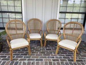 Bamboo Peacock Chair Rattan Accent Vintage Wicker Barrel Fan Back Dining Patio
