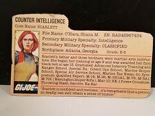 Vintage GI JOE SCARLETT File card