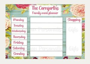 Personalised family Planner with meal planner, shopping list Wipe Clean board A4