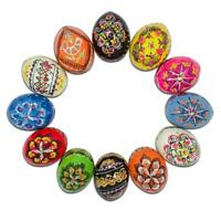 Set of 12 Ukrainian Wooden Easter Eggs Pysanky 1.5 Inches
