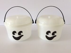 2 Vintage McDonalds Halloween Bucket Glow in the Dark Ghost Candy Pail New 1986