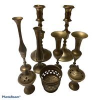 India Brass Set Of Candle Holders, Bud Vase And More!