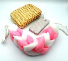 Set of Bath Foot Pumice Stone , Body Puff Wash Sponge Scrub Scrubber & Loofa