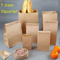 10PCS Brown Kraft Paper Bags Gift Food Bread Sandwich Candy Wedding Party Bags