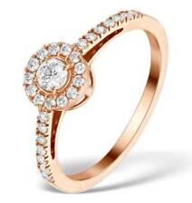 Anillos de joyería de oro rosa de 9 quilates diamante