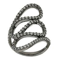 Italian Silver Black Rhodium-Plated Crystal Swirl Design Ring Size 5 Qvc