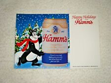 """Hamm's Beer """"Happy Holidays"""" Bear beer Static cling cooler sign 80's-90's Pabst"""
