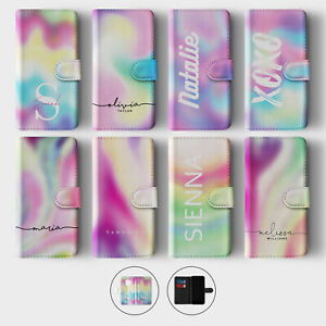 Tirita Personalised Wallet Flip Case for Samsung S10 S9 S8 Ombre Swirl Colours