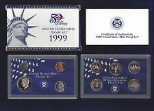 1999-S U.S. MINT PROOF SET...9 COINS...WITH OGP/BLUE & WHITE BOX...COA