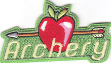 """""""ARCHERY"""" w/APPLE & ARROW - Iron On Embroidered Patch /Sport, Games, Competition"""