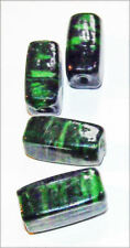 4 vintage Green Art Glass Beads Mid Century Modern 8MM Art Deco