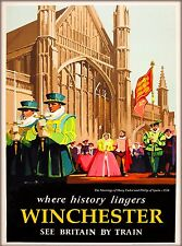 Winchester England Great Britain by Train Vintage Travel Advertisement Poster