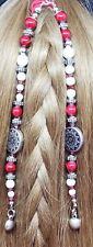 Red, White & Silver Handmade Beaded Hair Tie