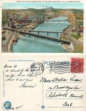 BEAVER FALLS PA NEW PENNA RAILROAD & HIGHWAY BRIDGES 1927 ANTIQUE POSTCARD