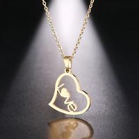 Halskette Damen Love Herz Anhänger Silber Gold Geschenk Edelstahl Modeschmuck